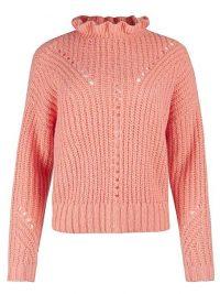 OLIVER BONAS Frill Neck Pink Knitted Jumper | feminine jumpers