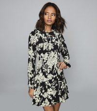 Reiss GABRIELLA FLORAL PRINTED MINI DRESS BLACK