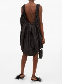 MARQUES'ALMEIDA Gathered scoop-back balloon-hem silk dress in black