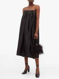 MARQUES'ALMEIDA Gathered silk-taffeta dress in black – lbd