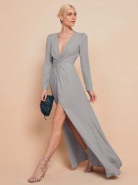 Reformation Gatsby Dress in Fog | plunging twist front gown