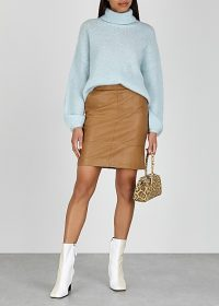 GESTUZ Char brown leather mini skirt