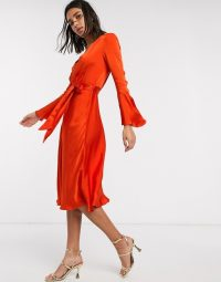 Ghost annabelle satin button front midi dress with flare sleeves in orange – bright floaty fabric occasion dresses