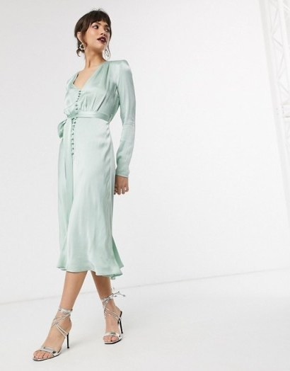 Ghost meryl satin button front midi dress in mint green – vintage look celebration dresses - flipped