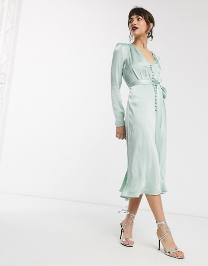 Ghost meryl satin button front midi dress in mint green – vintage look celebration dresses