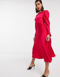 Ghost rosaleen satin midi dress in bright pink – slinky occasion dresses
