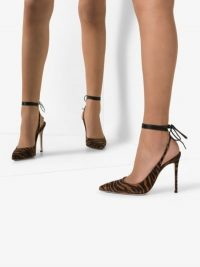 Gianvito Rossi Brown 105 Zebra Print Ankle Tie Pumps