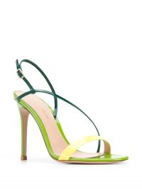GIANVITO ROSSI Ric 110mm diagonal strap sandals – green strappy evening shoes