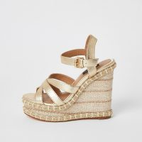River Island Gold metallic strappy wide fit wedge sandals | luxe wedged heels