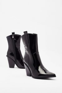 NASTY GAL Got This on Vinyl Western High Ankle Boots in Black – high-shine footwear