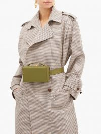 MARK CROSS Grace small gold-plated leather belt bag in khaki-green