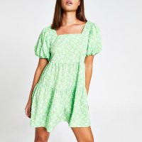 RIVER ISLAND Green floral short sleeve mini smock dress