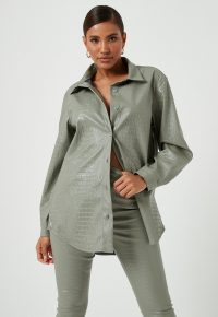 MISSGUIDED green mock croc faux leather oversized shirt