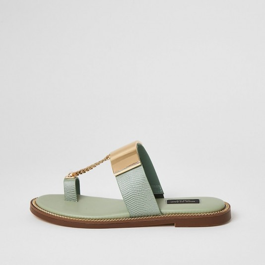River Island Green toe loop chain wide fit sandals