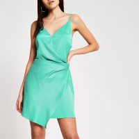 RIVER ISLAND Green wrap satin mini slip dress – asymmetric going out dresses