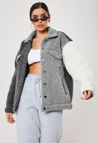 MISSGUIDED grey colourblock teddy borg trucker jacket – textured outerwear