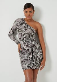 MISSGUIDED grey marble print one shoulder mini dress