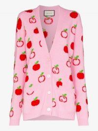 Gucci Apple Knit Wool Cardigan in pink – fun knitwear