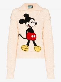 Gucci Mickey Mouse Embroidered Sweater in beige