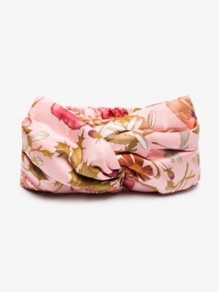 Gucci Silk Headband With Flora Print in Pink - flipped