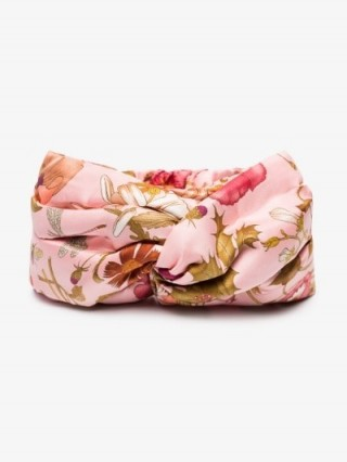 Gucci Silk Headband With Flora Print in Pink