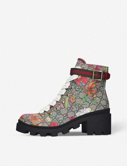 GUCCI Trip floral-print leather ankle boots - flipped