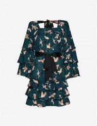 HAPPY X NATURE Bird-print ruffled crepe mini dress in Sea Moss ~ tiered dresses