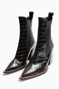 TOPSHOP HARRY Leather Black Crocodile Chelsea Boots