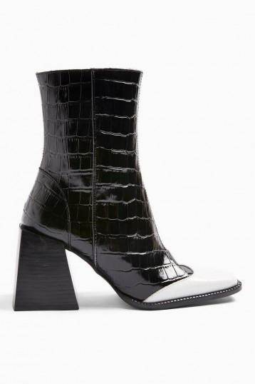 TOPSHOP HEAVEN Leather Black And White Block Boots in Monochrome – chunky heeled boot