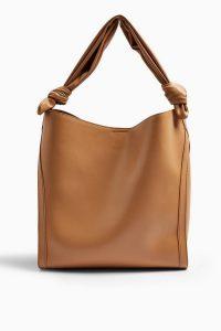 TOPSHOP HELEN Camel Ruched Hobo Bag – large shoulder bags