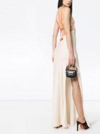 HERON PRESTON long slip dress in sand beige | strappy back cami dresses