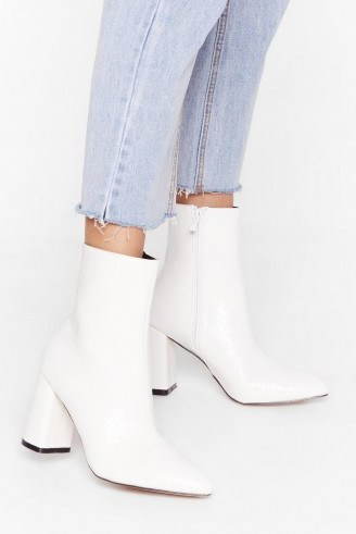 NASTY GAL Hey Sole Sister Faux Leather Croc Boots in white - flipped
