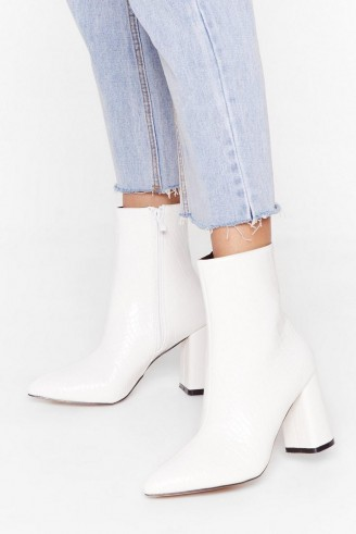 NASTY GAL Hey Sole Sister Faux Leather Croc Boots in white