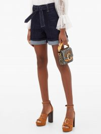 CHLOÉ High-rise belted indigi-blue denim shorts