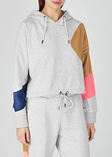 H2OFAGERHOLT Grey colour-block cotton-blend sweatshirt – hooded sports top - flipped