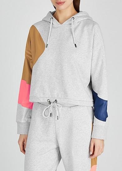 H2OFAGERHOLT Grey colour-block cotton-blend sweatshirt – hooded sports top