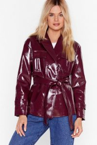 NASTY GAL I'm Totally Vinyl Belted Jacket in burgundy