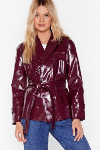 NASTY GAL I'm Totally Vinyl Belted Jacket in burgundy - flipped