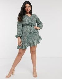 In The Style Plus x Billie Faiers exclusive wrap front frilly skater dress in green floral print