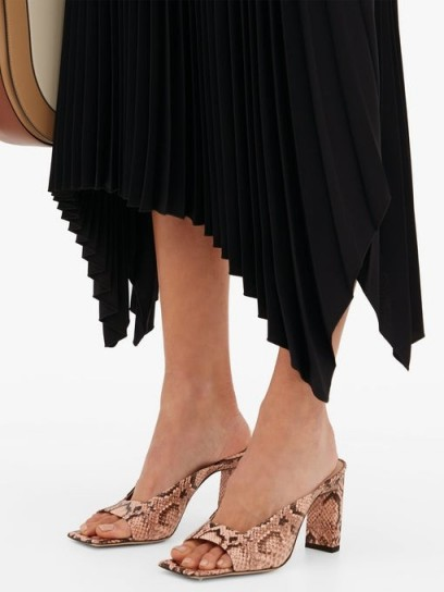 WANDLER Isa square open-toe pink python-effect leather mules