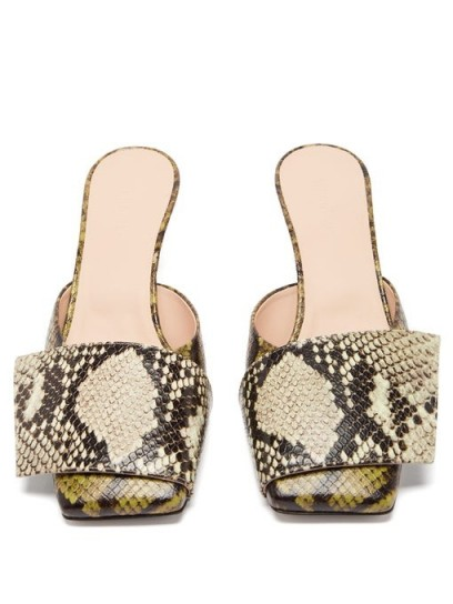 WANDLER Isa square-toe python-effect leather mules in green