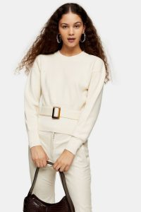 Topshop Ivory Belted Sweatshirt | classic fashion with a twist