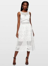 Miss Selfridge Ivory Lace Midi Skater Dress