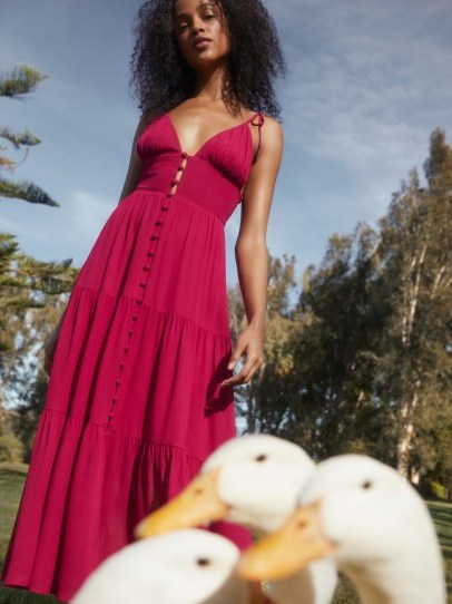 Reformation Jaden Dress in Rhubarb | strappy tiered dresses - flipped