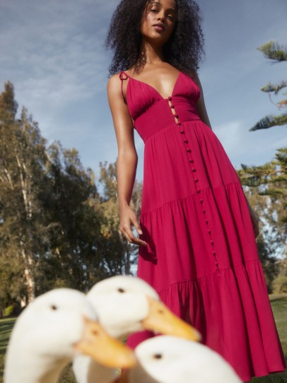 Reformation Jaden Dress in Rhubarb | strappy tiered dresses