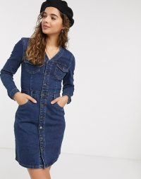 JDY fitted denim dress in blue | casual dresses