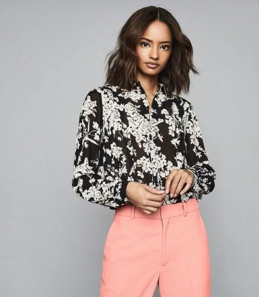 REISS JEAN FLORAL PRINTED BLOUSE BLACK ~ monochrome blouses - flipped