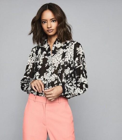 REISS JEAN FLORAL PRINTED BLOUSE BLACK ~ monochrome blouses
