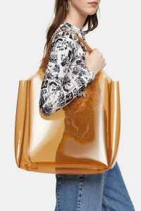 TOPSHOP JELLY Camel Tote Bag – large clear shopper
