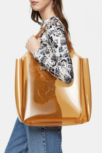 TOPSHOP JELLY Camel Tote Bag – large clear shopper - flipped